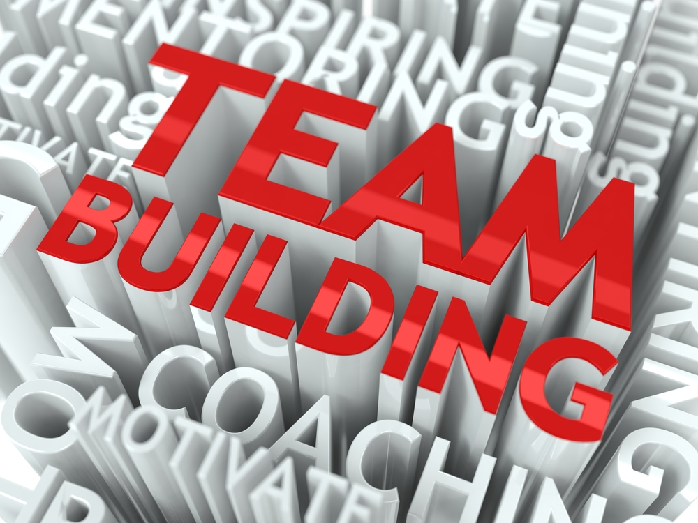 Team Building Concept. The Word of Red Color Located over Text of White Color.